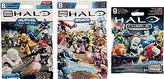 Mega Bloks Halo Alpha, Bravo & Charlie Series Mini Figure Blind Bags (1 Pack of Each)