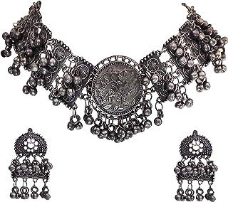 Total Fashion Afghani Oxidised Antique Jewellery Looklike Choker Necklace Set for Women & Girls