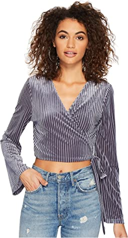 J.O.A. Flare Sleeve Wrap Top