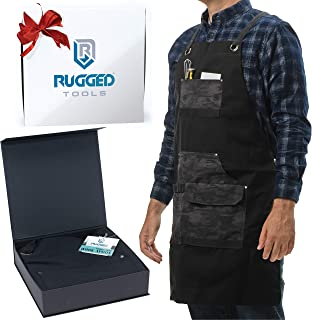Rugged Tools Work Apron - Heavy Duty Canvas Shop Apron with Tool Pockets for Men, Women, Woodworker, Carpenter, Mechanic, or Machinist (Black Camo)