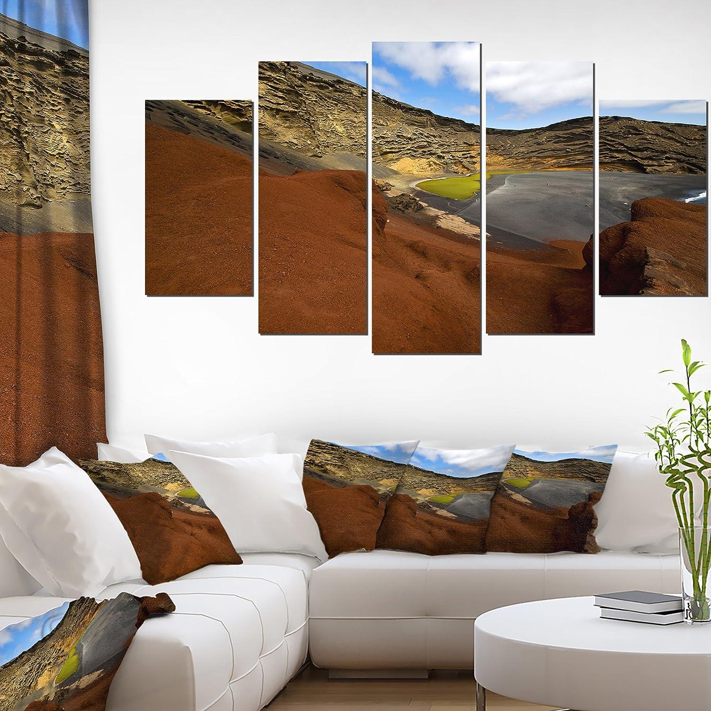 Amazon Com Designart In El Golfo Lanzarote Spain Musk Pond Contemporary Seascape Art Canvas 60x32 5 Piece Pt10741 373 60x32 5 Panels Diamond Shape Home Kitchen