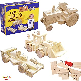 Kraftic Woodworking Building Kit for Kids and Adults, with 3 Educational DIY Carpentry Construction Wood Model Kit Toy Projects for Boys and Girls - Tractor, Bulldozer and F1