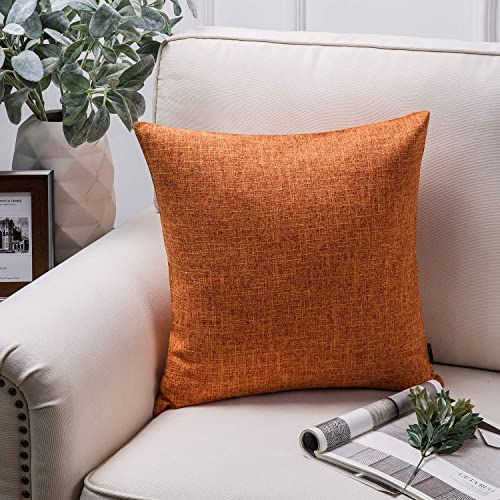 discount Phantoscope Throw Pillow Cover Textured Faux Linen Series Decorative Cushion Covers for Home online Decor Sofa Couch Car Orange 18 x 18 inches sale 45 x 45 cm online