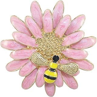 Gyn&Joy Beautiful Enamel Sun Flower Daisy Honey Bee Insect Brooch Pin Women Jewelry Accessories Collar Pin BZ182