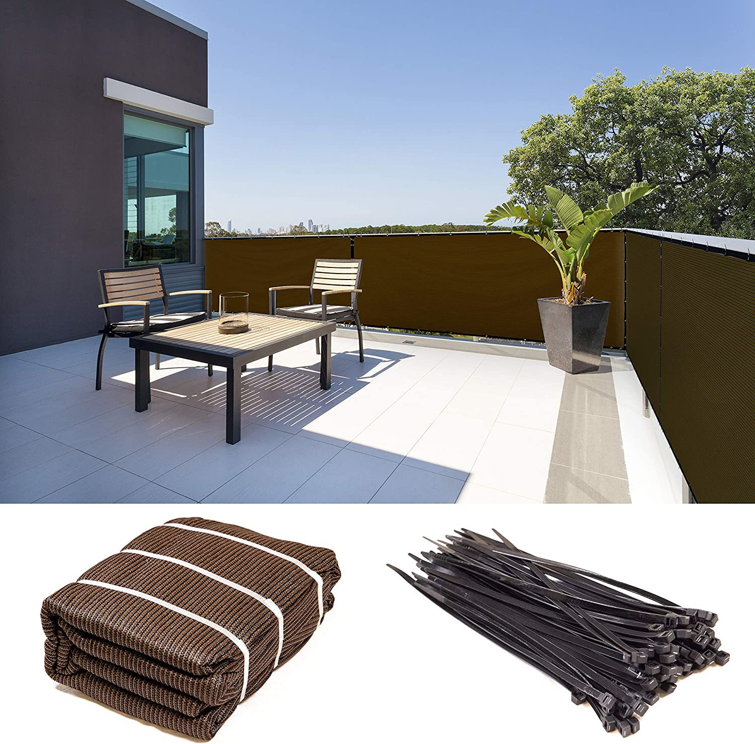 ShadeMart 5' x 8' Brown Cheap SALE Start Excellent Fence Privacy Fa Shade Windscreen Screen