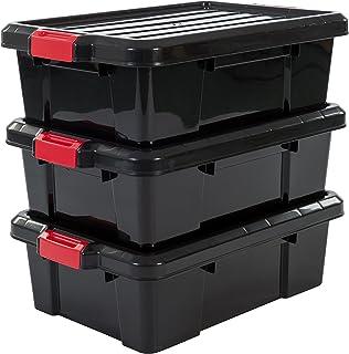 Iris Ohyama 135737 Set de 3 boîtes de Rangement Power Box, Plastique, Noir, 25 Litres