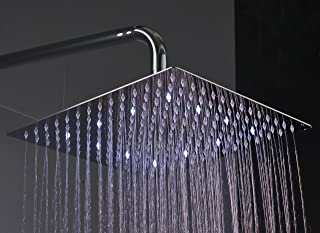 Fyeer 12 Inches LED Rainfall Shower Head Square, Ultra-thin Luxury Bathroom Shower Head Wall/Ceiling Mounted, 3-LAYER Brushed Nickel 304 Stainless Steel, Temperature Sensor 3 Colors Changing