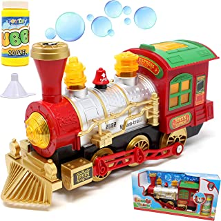 JOYIN Bubble Bump-N-Go Steam Train Locomotive Car with Lights and Sound Includes 2 Ounce Bubble Solution for Holiday Toy, Stocking Stuffers, School Classroom Decor.