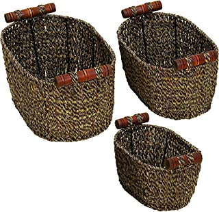 Deco 79 Seagrass Metal Basket, 14 by 12 by 10-Inch, Set of 3