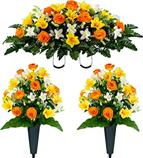 Sympathy Silks Artificial Cemetery Flowers – Realistic Vibrant Roses, Outdoor Grave Decorations - Non-Bleed Colors, and Easy Fit - Two Orange Yellow Rose Bouquets and One Orange Yellow Rose Saddle