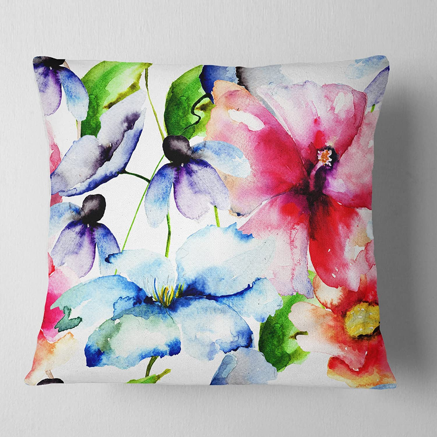 Amazon Com Designart Watercolor Flowers Everywhere Floral Pillow Insert Cushion Cover Printed On Both Side 12 In X 20 In Arts Crafts Sewing