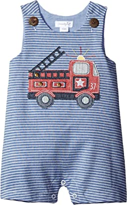 Mud Pie - Firetruck Stripe Shortall (Infant)