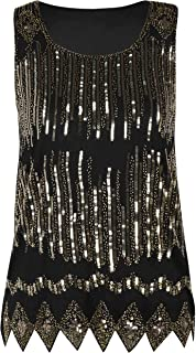 PrettyGuide Women's Sequin Top Flowy Sparkly Cocktail Tank Party Dressy Tops