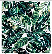 Mimihome Tropical Palm Leaves Shower Curtains, Waterproof and Mildew Free Fabric Bath Curtain, 72 x 72 Inch,Green
