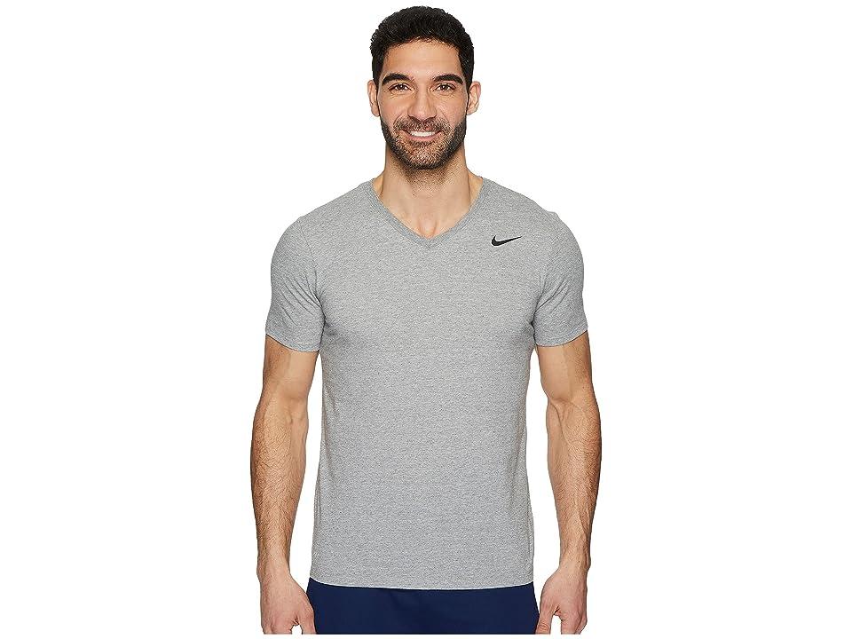 Nike Dry Training V-Neck T-Shirt (Dark Grey Heather) Men