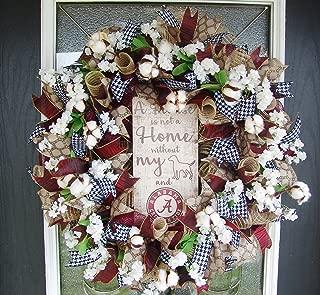 Alabama Crimson Tide College Football Team & Dog Lover Deco Mesh Front Door Wreath, UA Decor, Southern Bama Cotton, University of Alabama