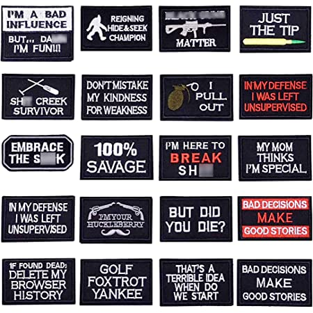 U-Sky 20pcs Tactical Morale Iron on Patches for Biker Vest Different Embroidered Iron-on Patch Motorcycle Jackets Patch for Backpacks Sew on Appliques for Jean Bags Caps Clothing