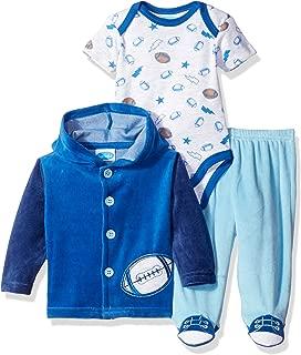 BON BEBE Baby Boys' 3 Piece Velour Jacket Set with Bodysuit and Pant