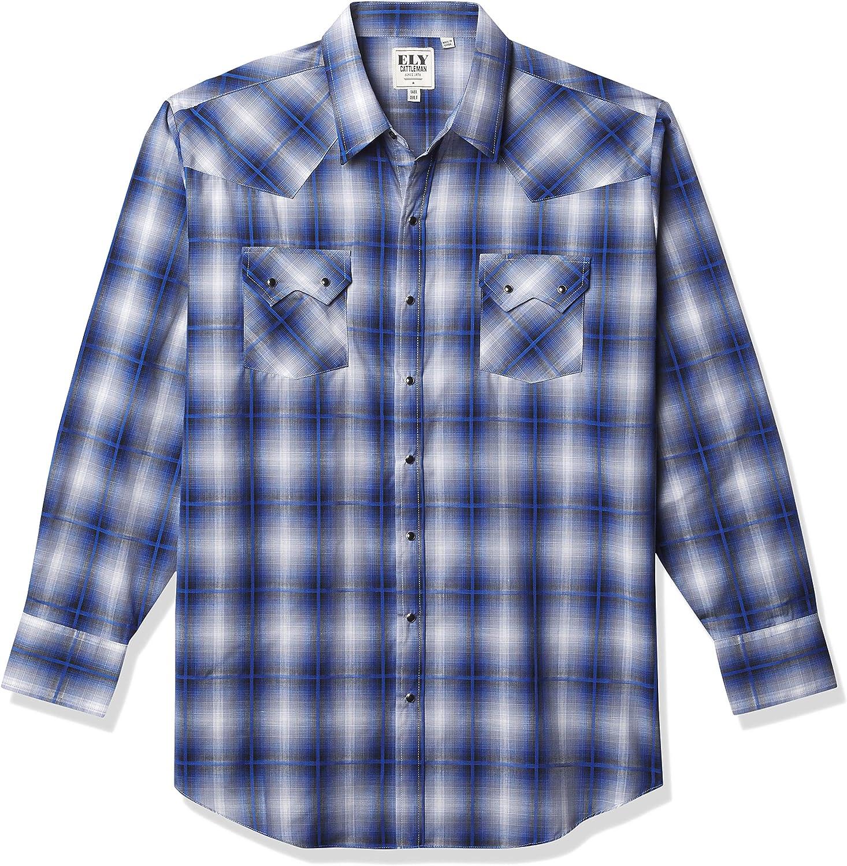 ELY CATTLEMAN Men's Tall Size Long Sleeve Textured Plaid Western Shirt
