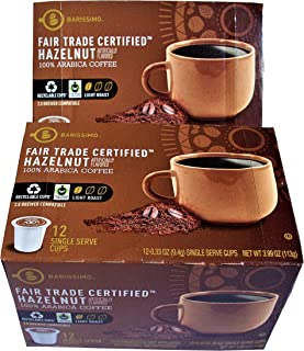 Barissimo Hazelnut Single Serve Pods Fair Trade Certified 100% Arabica Coffee Cups and Cartons Recycleable