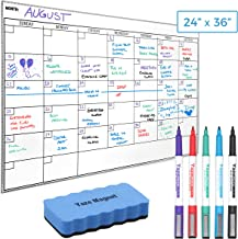 """Wall Calendar - Dry Erase Sticky Whiteboard - 5 Markers & Eraser - Stain-Resistant 24"""" x 36"""" White Board Planner for Charting Monthly Meetings, Chores - Reusable Family Office Organization Chart"""
