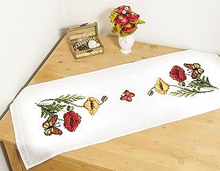 Kamaca Stickpackung Mohnblumen UND Schmetterlinge Kreuzstich vorgezeichnet aus 100% Baumwolle zum Selbersticken Tischläufer 40x100 cm