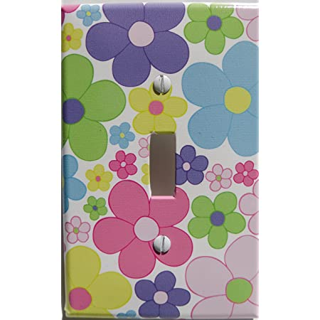 Amazon Com Pastel Daisy Flower Light Switch Plate Covers Single Toggle Nursery Wall Decor In Light Pink Purple Yellow Blue Green And Orange Baby
