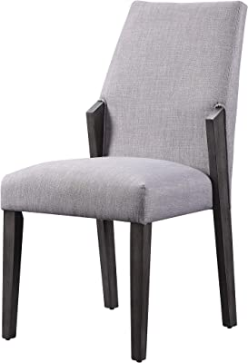 Benjara Wood and Fabric Upholstered Dining Chairs, Set of 2, Gray and Black