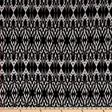 Fabric Merchants Splendid Apparel Rayon Spandex Jersey Knit Abstract Ikat Black/Natural Fabric