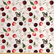 Lunarable Cherry Fabric by The Yard, Summer Fruit Pattern Flowers and Butterflies Nature..