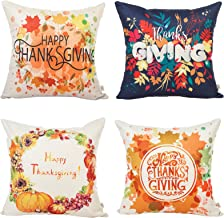 HOSL 4 Pack GE03 Happy Thanksgiving Day Turkey Day Decorative Pillow Cover Case 18 X 18