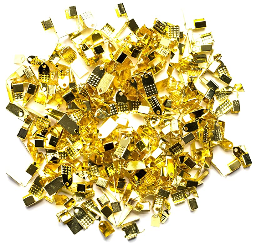 Assorted Gold Metal Foldover Cord Ends - 200pc
