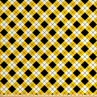 Ambesonne Geometric Fabric by The Yard, Argyle Pattern with Rhombuses and Dotted Lines Grid Plaid Design, Decorative Fabric for Upholstery and Home Accents, 3 Yards, Yellow White