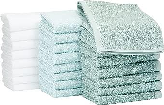 AmazonBasics - Paños de algodón (30 x 30 cm), paquete de 24 - Verde, Azul claro, Blanco