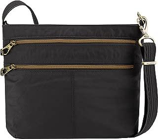 Anti-theft Signature Double Zip Cross Body Bag, Black