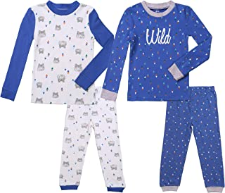 Asher & Olivia Boys Pajamas 4 Pc Cotton Pjs Set for Baby Toddler Little Kids