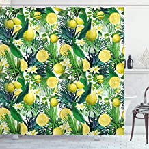 Ambesonne Nature Shower Curtain, Tropical Plants with Large Evergreen Leaf Lemon Botany Palm Jungle Graphic, Cloth Fabric Bathroom Decor Set with Hooks, 84
