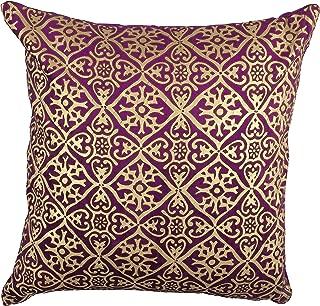 Divine Home Magenta Velvet with Gold Foil Medallions Indoor Pillow, 20
