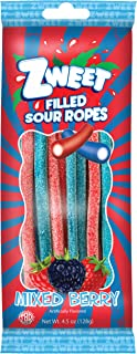Zweet- Filled Sour Mixed Berry Ropes - Go Pack, 4.5 Oz - Gummy Candy, Licorice, Low Calorie, Kosher, Non-GMO