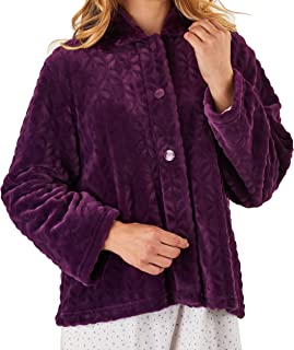 "Slenderella Ladies 24""/61cm Luxury 300GSM Soft Thick Velvet Fleece Faux Fur Collared Button Up Bed Jacket Size Small Medium Large XL & XXL"