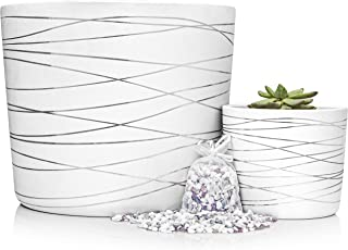 Silver Stripes Ceramic Pot Bundle - 12 Inch Large Planter and Small Succulent Planter - Decorative Pebbles Included for The Small Flower Pot - Indoor or Outdoor Pots for Plants