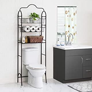 Home Zone Bath Over The Toilet Bathroom Storage Rack with 2 Hanging Baskets, 3-Tier (Oil-Rubbed Bronze)