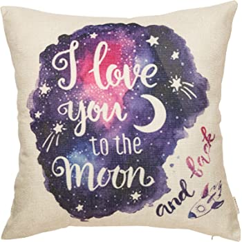 "Fjfz Cotton Linen Home Decorative Throw Pillow Case Cushion Cover for Sofa Couch Watercolor I Love You to The Moon and Back Lover Gift Decor, Valentine's Day Decoration, Galaxy Star, 18"" x 18"""