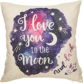 Fjfz Cotton Linen Home Decorative Throw Pillow Case Cushion Cover for Sofa Couch Watercolor I Love You to The Moon and Back Lover Gift Decor, Valentine's Day Decoration, Galaxy Star, 18