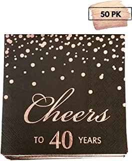 Rose Gold Foil Cocktail Napkins with Cheer 40 Years   Folded 5 x 5 Inches Disposable Party Napkins   3-Ply Paper Beverage Napkins for 40th Birthday Decorations, Wedding Anniversary, Retirement, Black