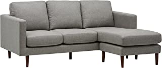 "Amazon Brand – Rivet Revolve Modern Upholstered Sofa with Reversible Sectional Chaise, 80""W, Grey Weave"