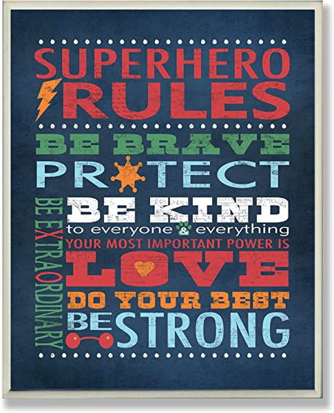 The Kids Room By Stupell Dark Blue Superhero Rules Rectangle Wall Plaque 11 X 0 5 X 15 Proudly Made In USA