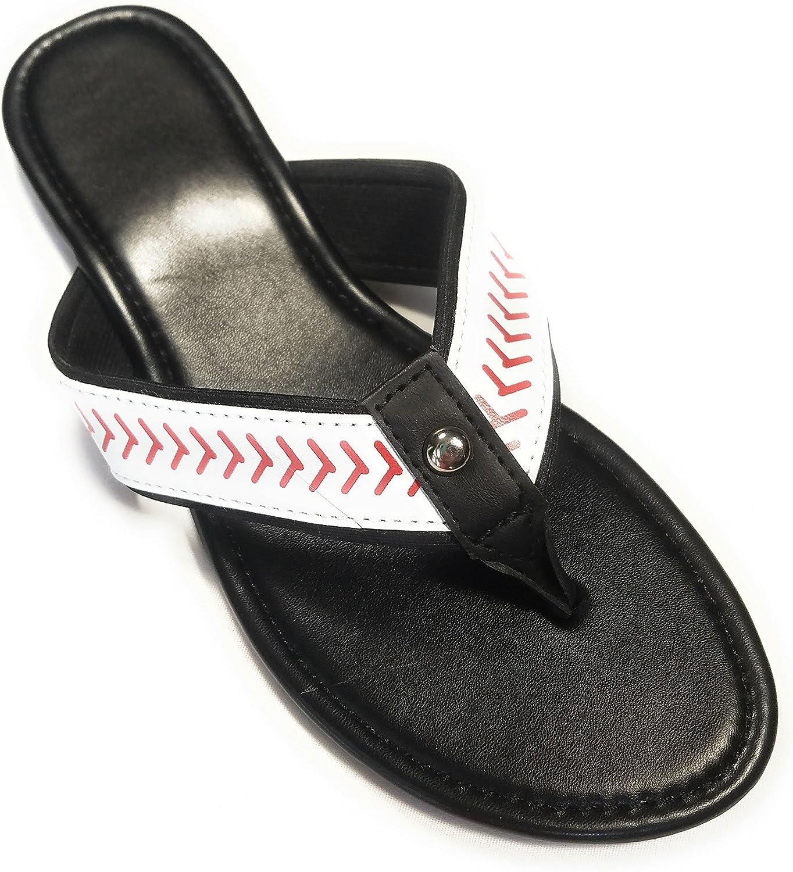 Jubilee Spirit Baseball Flip Flop Sandals Black White