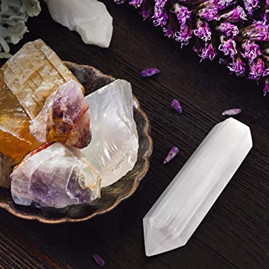 Om Zone 6-inch Moroccan Selenite Tower Large Crystal Point Wand Generator Obelisk for Energy Cleansing, Meditation, Reiki, In