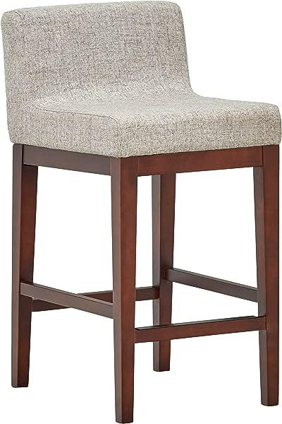 铆钉中世纪现代低背厨房餐厅柜台凳子 33 5 英寸高度浅灰色木质